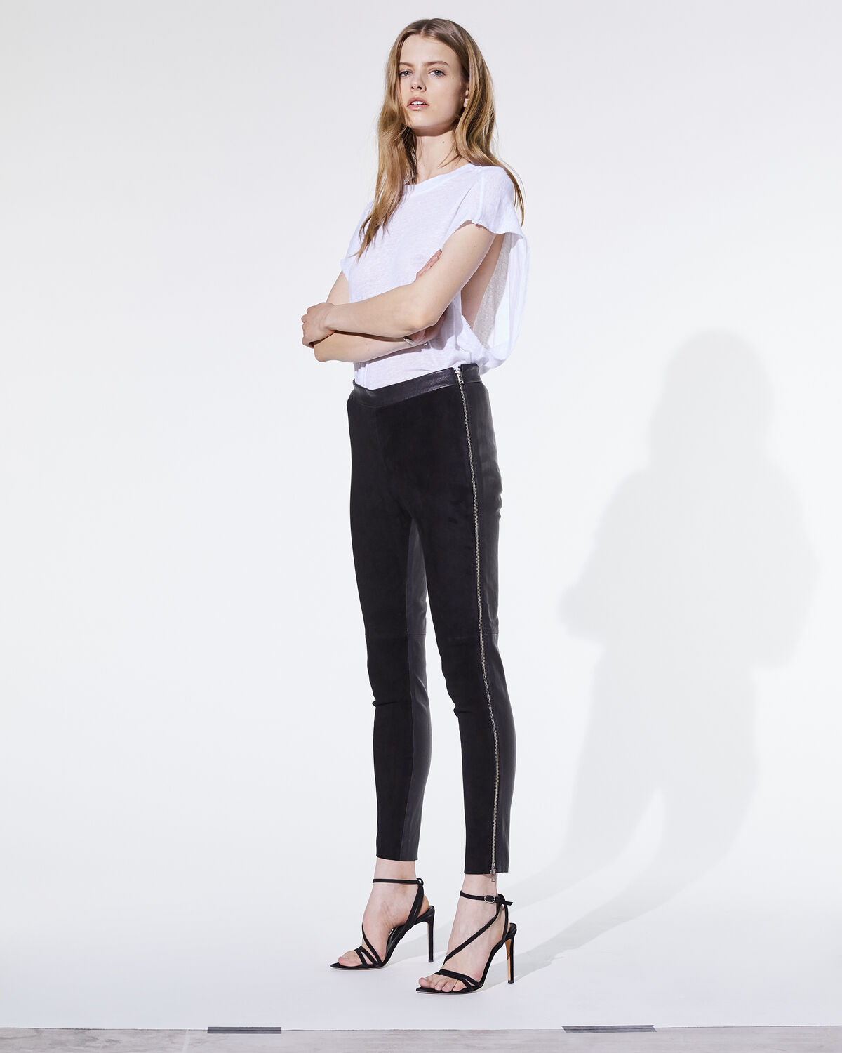 IRO SAULY TROUSERS,BLACK