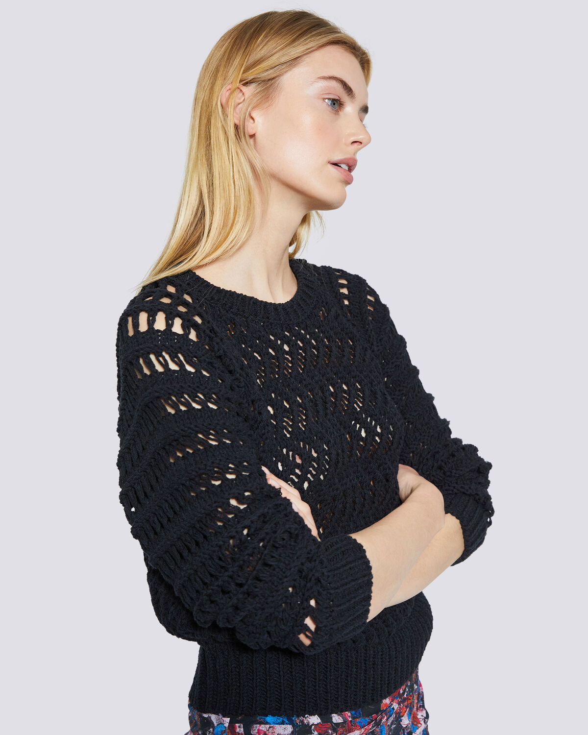 IRO - ATTICA CREW NECK OPEN KNIT SWEATER BLACK