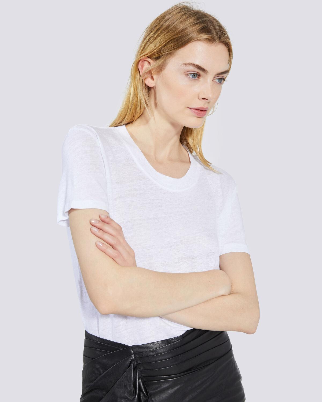 IRO - LUCIANA CREW NECK LINEN T SHIRT WHITE