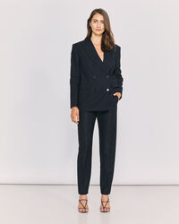 IRO - CAIRN PINSTRIPE STRAIGHT LEG TROUSERS BLACK