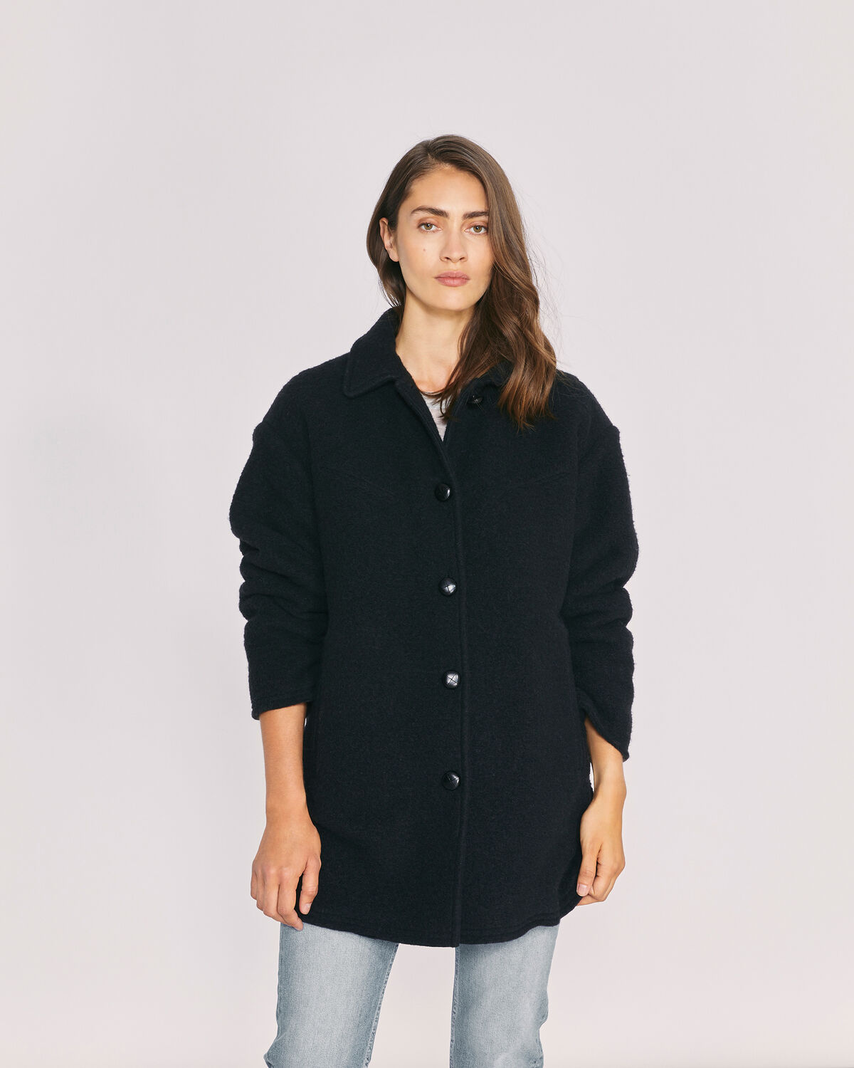 IRO - BAPSIE WOOL OVERSIZED OVERSHIRT COAT BLACK