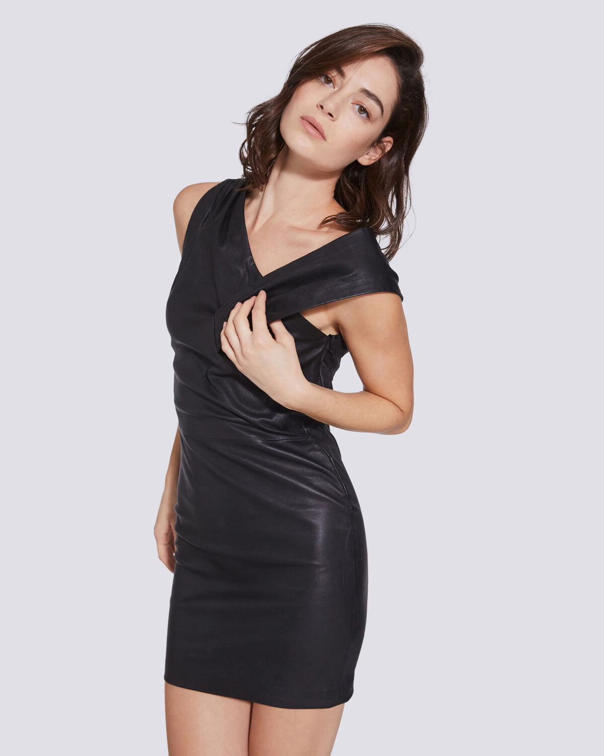IRO - LIVING ASYMMETRIC LEATHER DRESS  BLACK