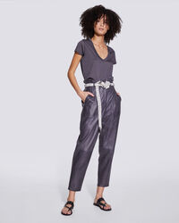 IRO - ADEUS PERFORATED LEATHER PAPERBAG PANTS  CARBON
