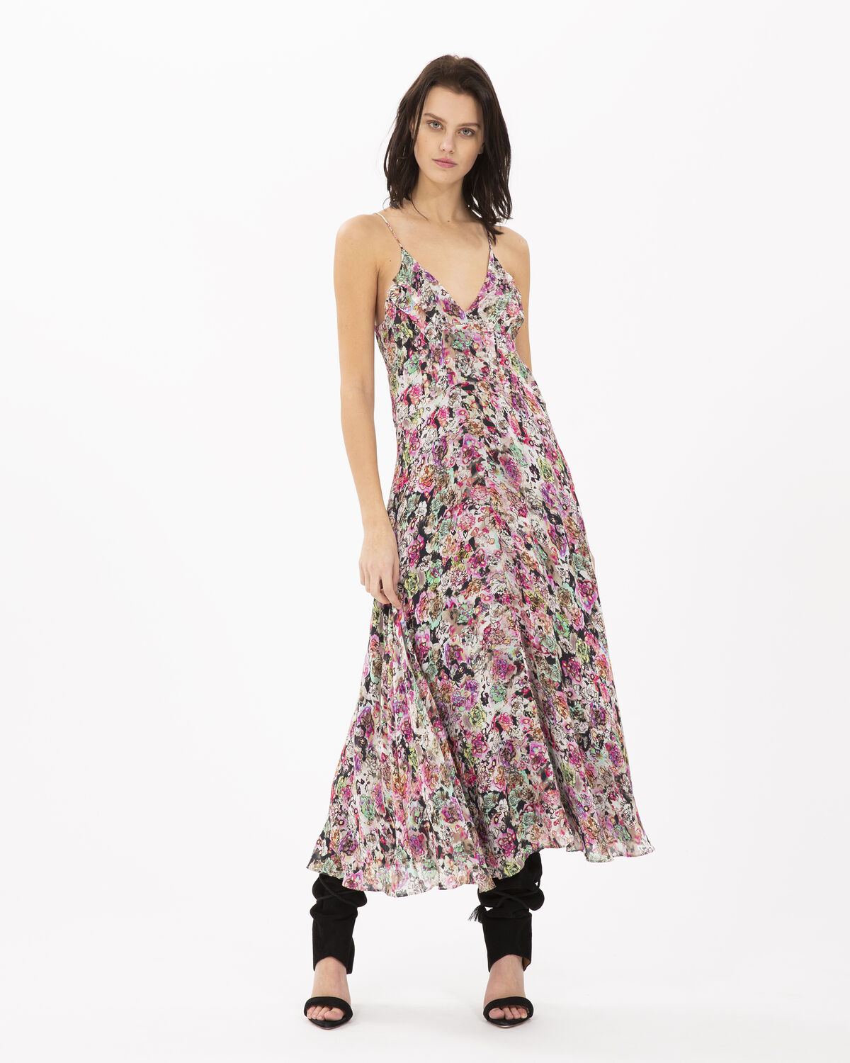 Photo of IRO Paris Severn Dress Pink - Fluid And Airy, This Dress Is Distinguished By Its Floral Print And Thin Straps. Dare To Wear It With A Pair Of Boots For A Bohemian Rock Look. Dresses