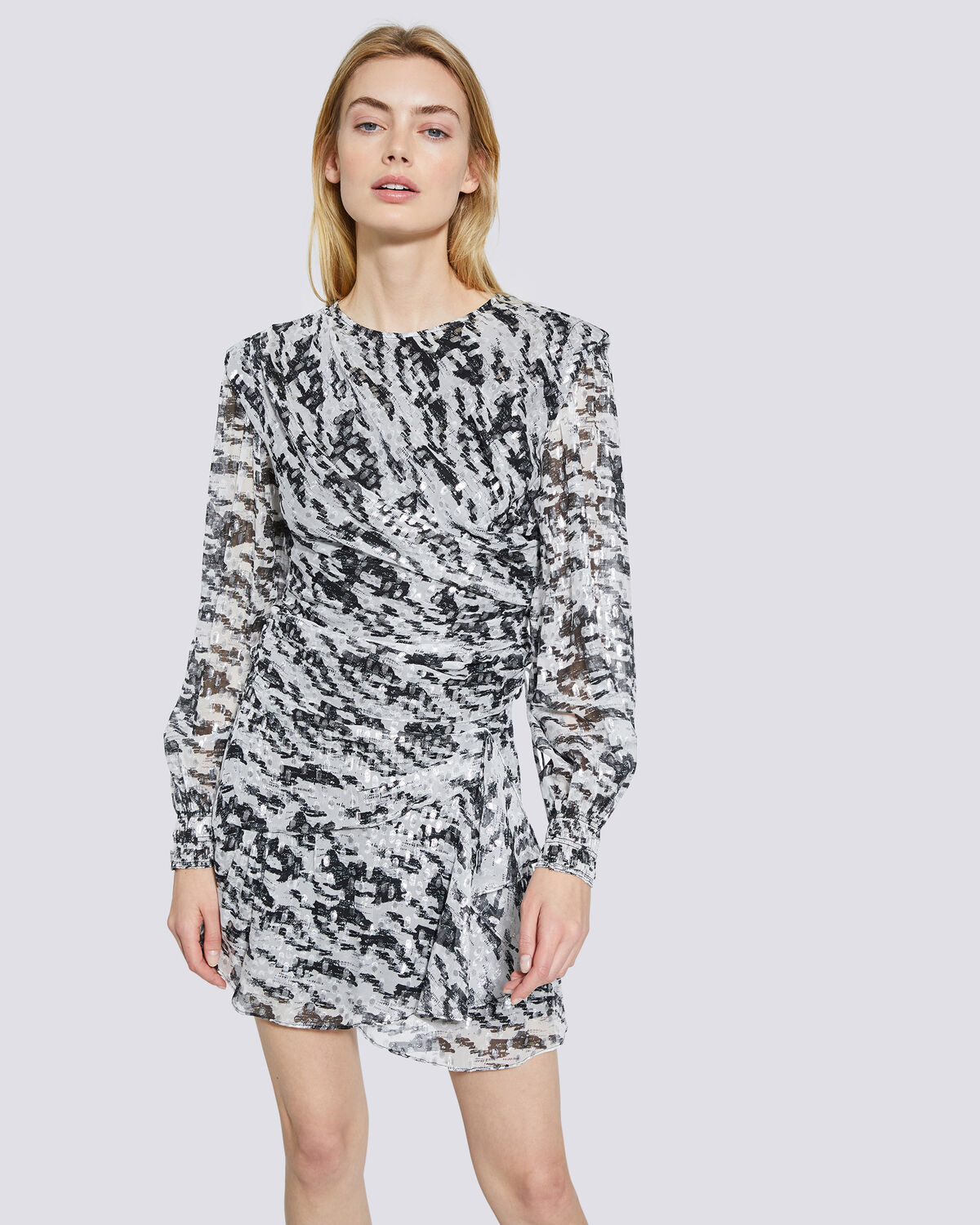 IRO - TOP IMPRIMÉ FIL DE LUREX KLEOK BLACK/WHITE/SILVER
