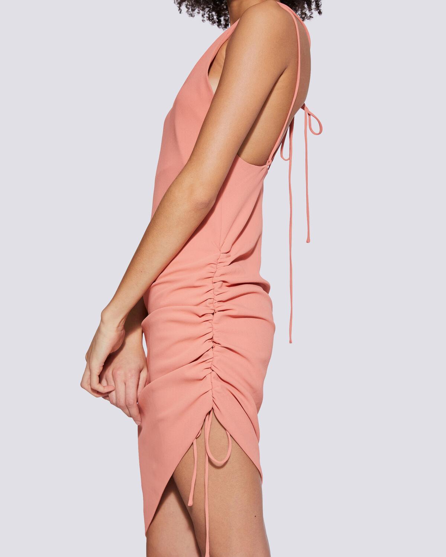 IRO - CLODY ASYMMETRIC BACKLESS SPAGHETTI STRAP DRESS ABRICOT