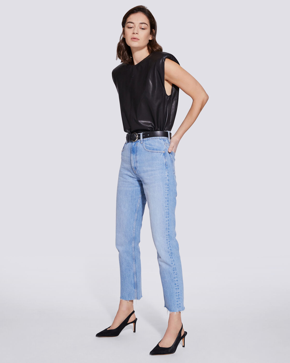 IRO - JEAN 7/8 COUPE DROITE HYPNOSIS LIGHT BLUE WORN