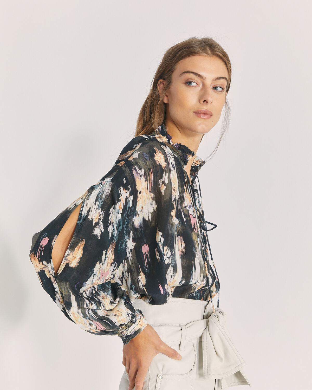 IRO - SENK SILK PRINTED TIE BLOUSE TOP BLACK/GREY