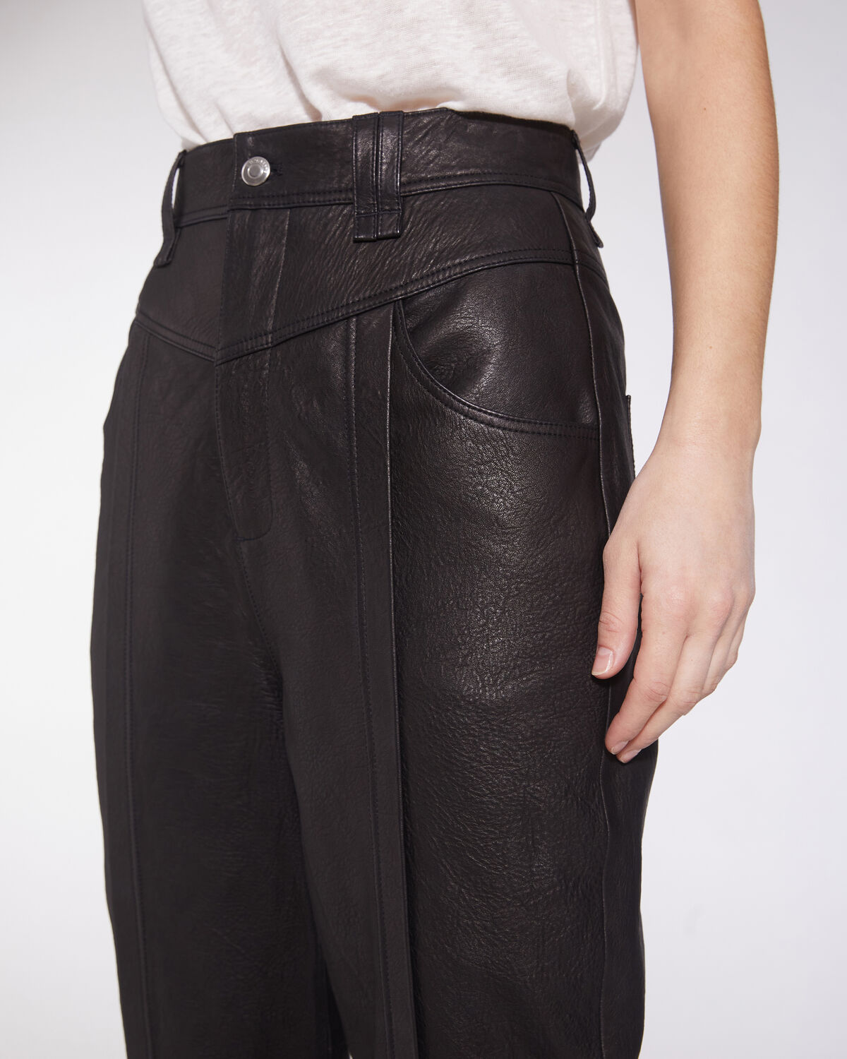 IRO - POWEL STRAIGHT LEG LEATHER TROUSERS BLACK