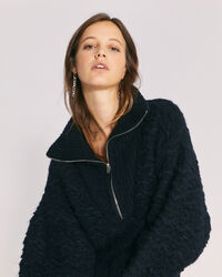 IRO - SHANSA CHUNKY HALF ZIP SWEATER BLACK