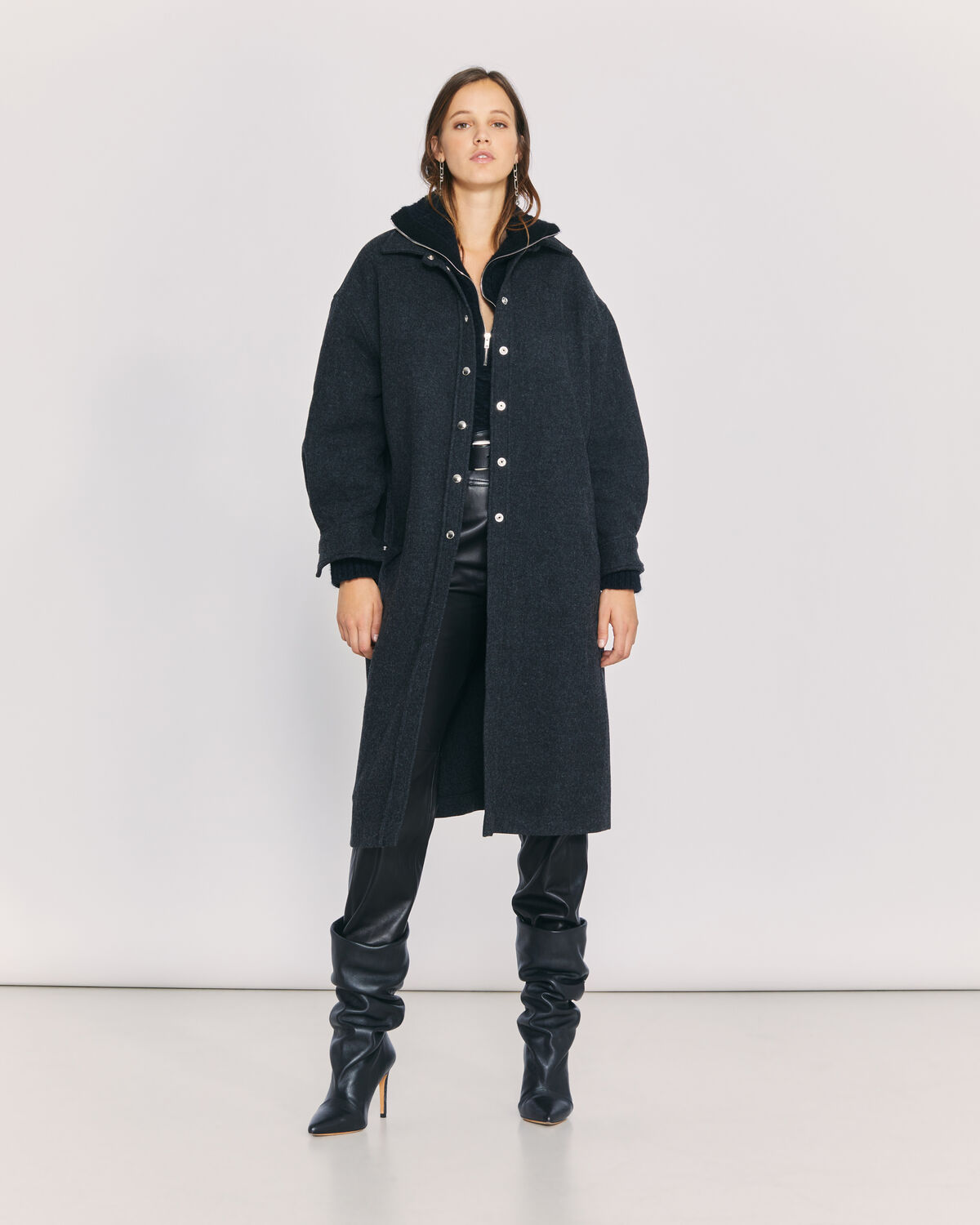 IRO - LUAN LONG OVERSHIRT STYLE COAT ANTHRACITE