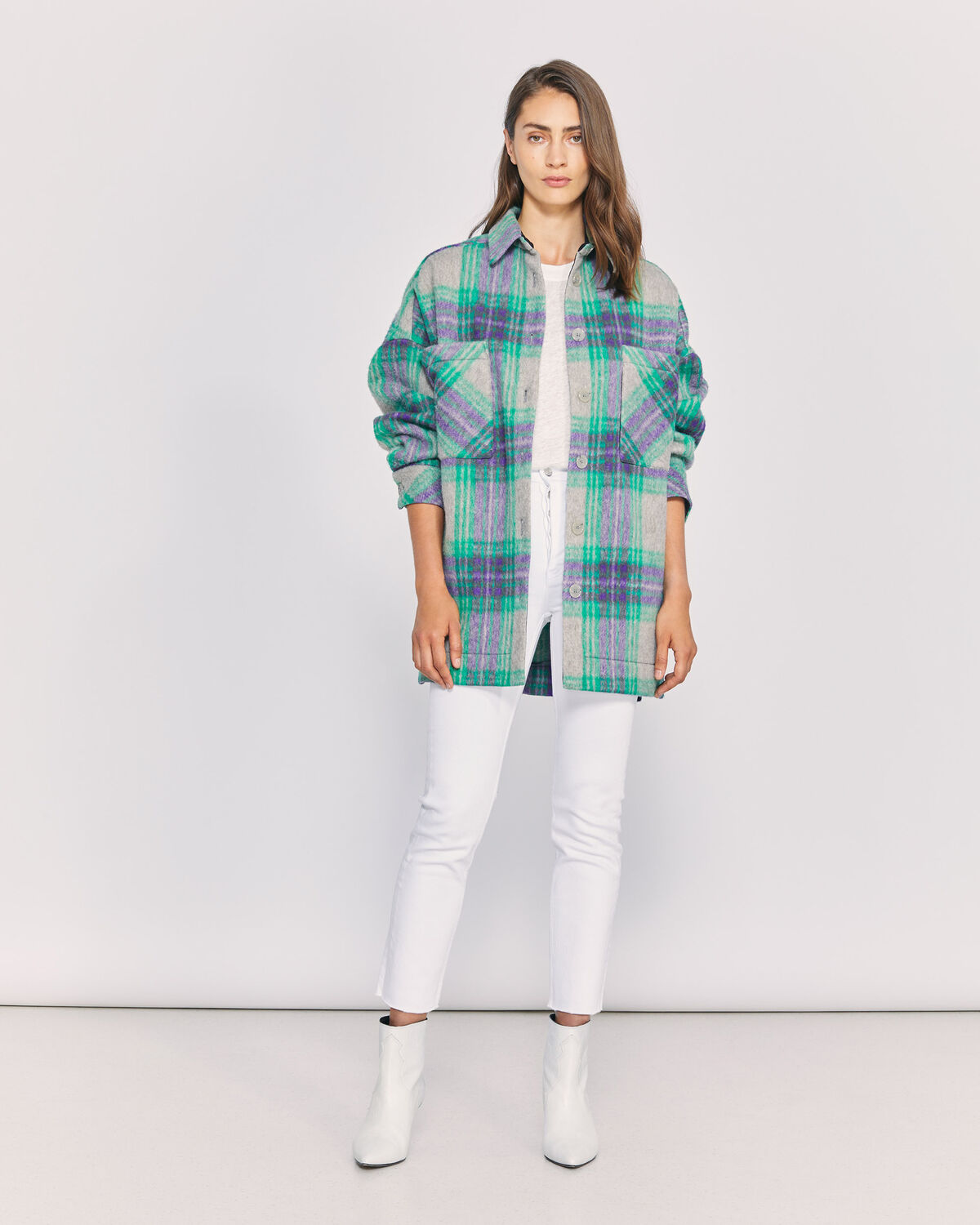 IRO - MALHOW OVERSIZED PLAID OVERSHIRT  GREEN MULTICO