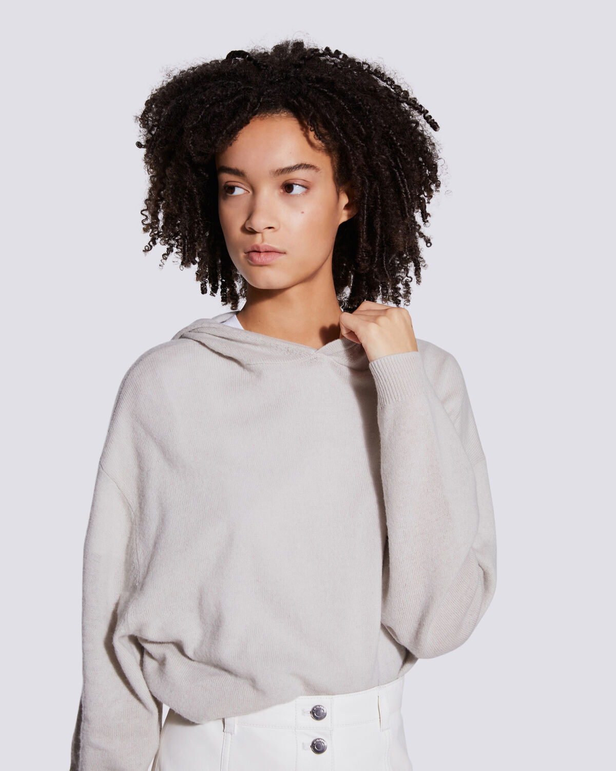 IRO - SWEAT À CAPUCHE EN COTON ET CACHEMIRE TIAGO DIRTY GREY