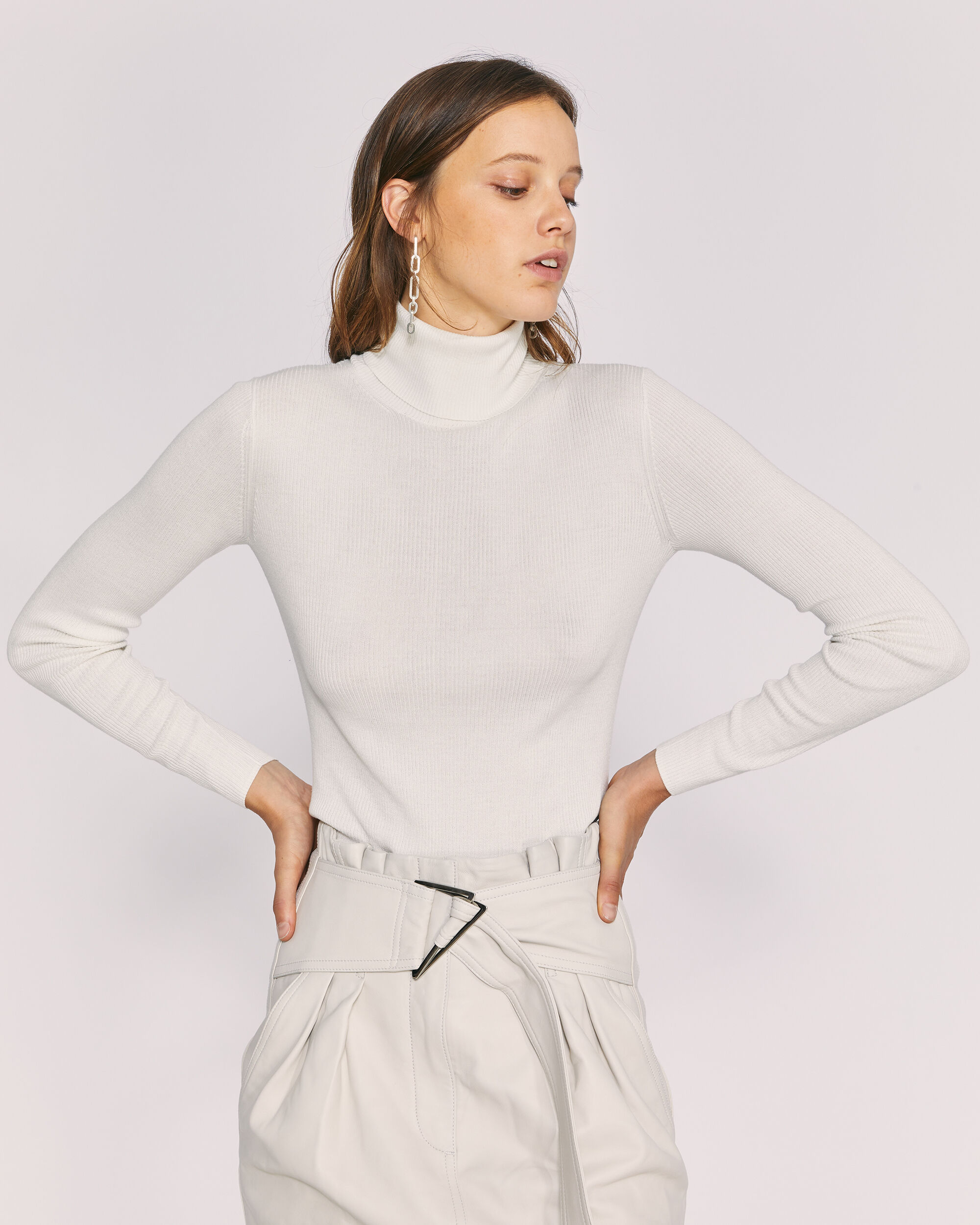 IRO KELLA SWEATER,OFF WHITE