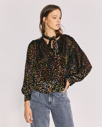 IRO - POUNA VELVET PRINTED TIE NECK TOP MULTICO