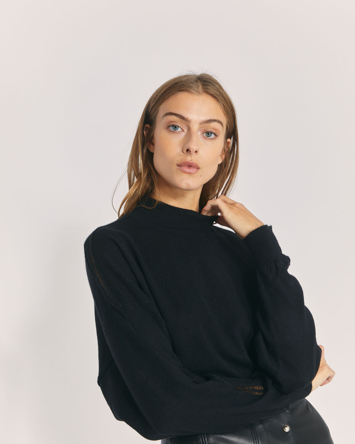 IRO - SWASH MOCK NECK CASHMERE SWEATER BLACK