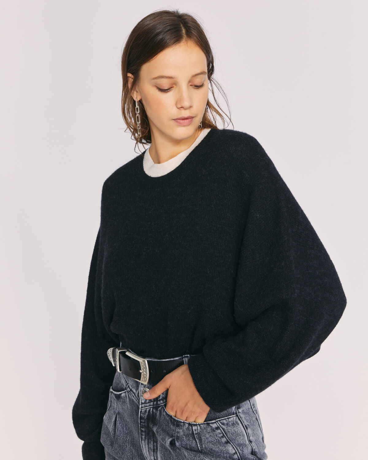 IRO - PULL COL ROND MANCHES BOUFFANTES ESCAPE BLACK