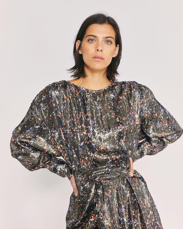 IRO - MOSENY METALLIC PRINTED DRESS BLACK MULTICO