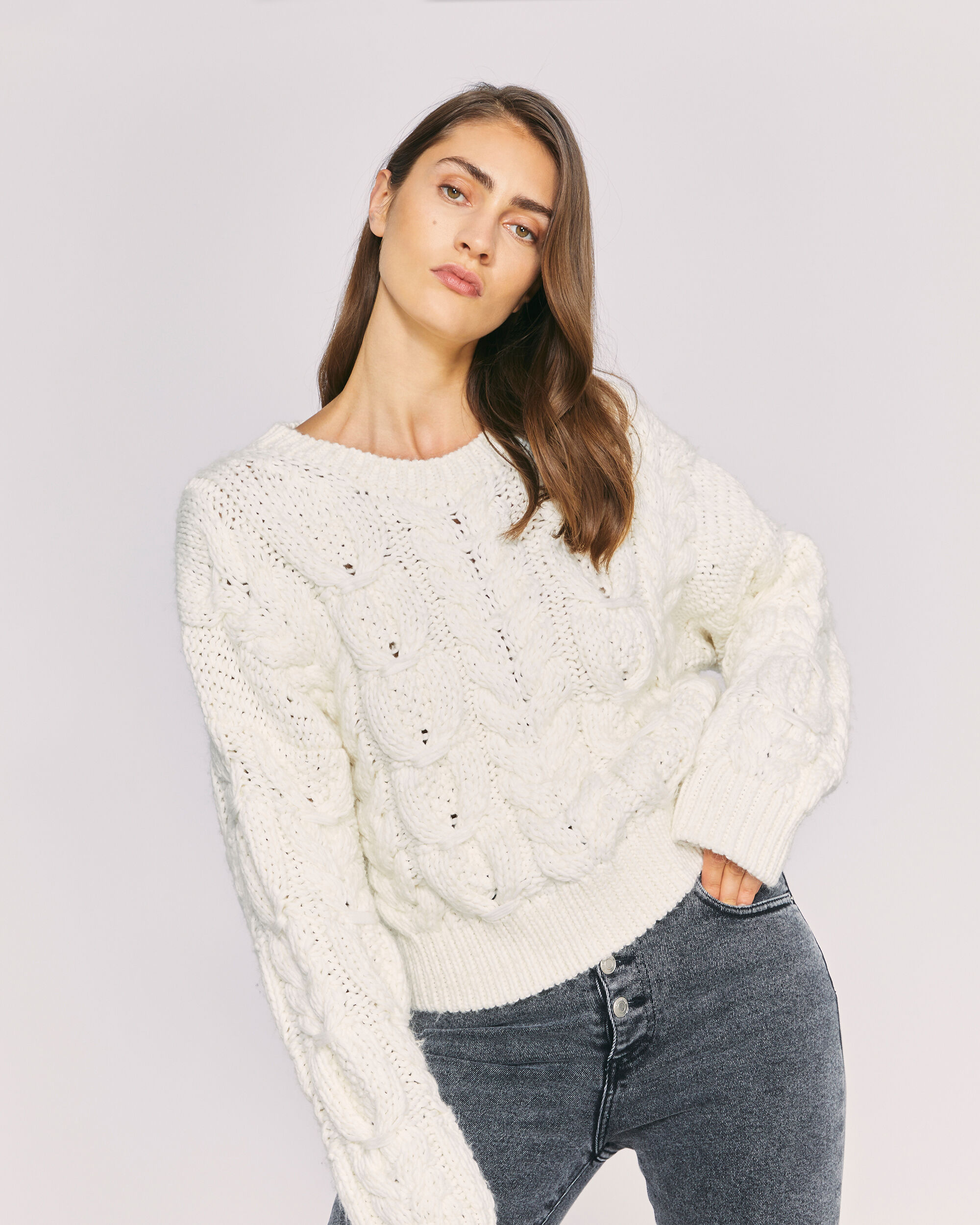 IRO SIDRA SWEATER,OFF WHITE
