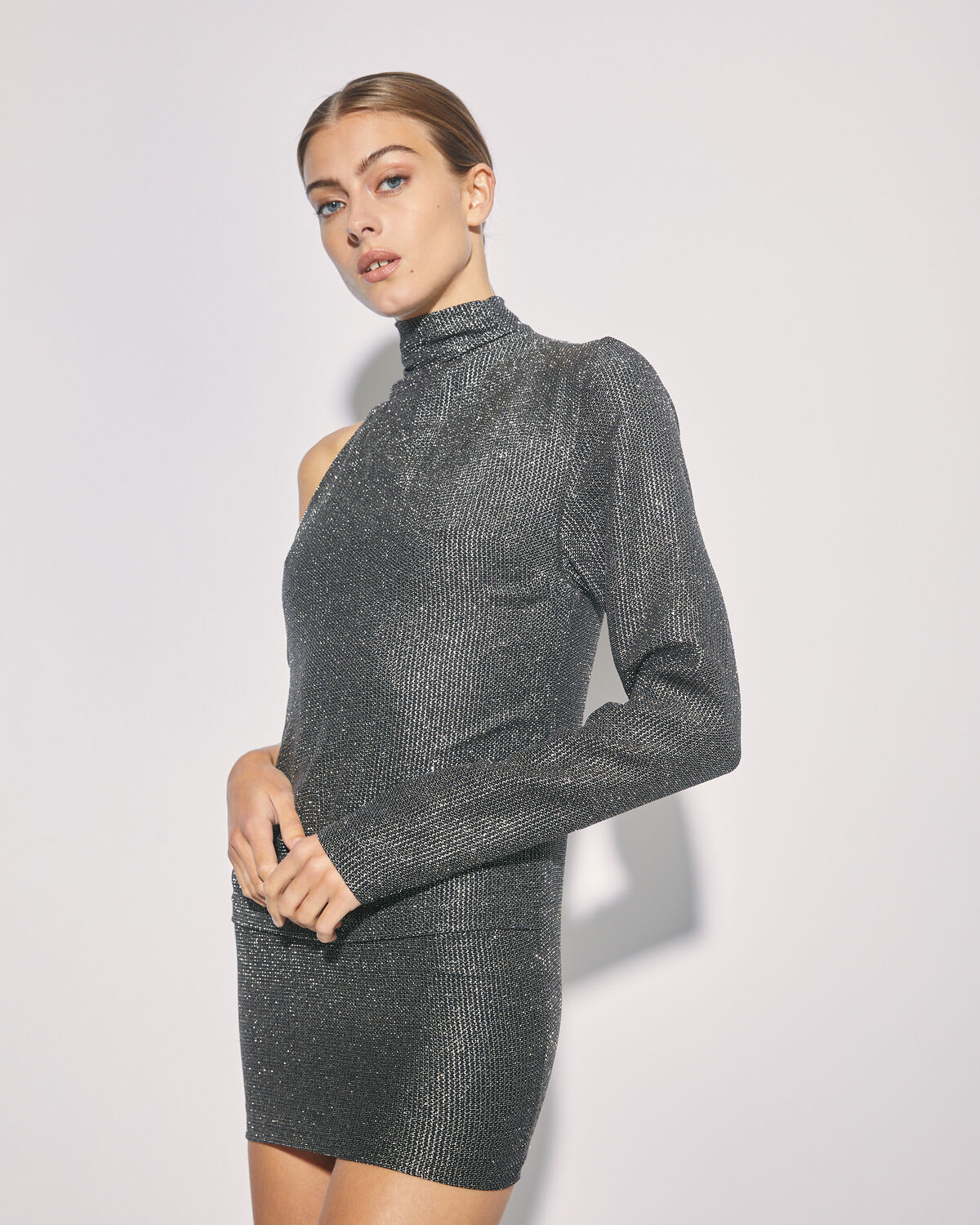 IRO - SHACK ONE SHOULDER METALLIC MINI DRESS BLACK/SILVER