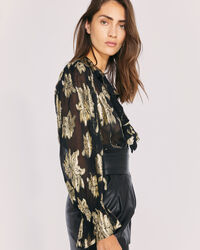 IRO - LABRA METALLIC FLORAL BLOUSE TOP BLACK/GOLD