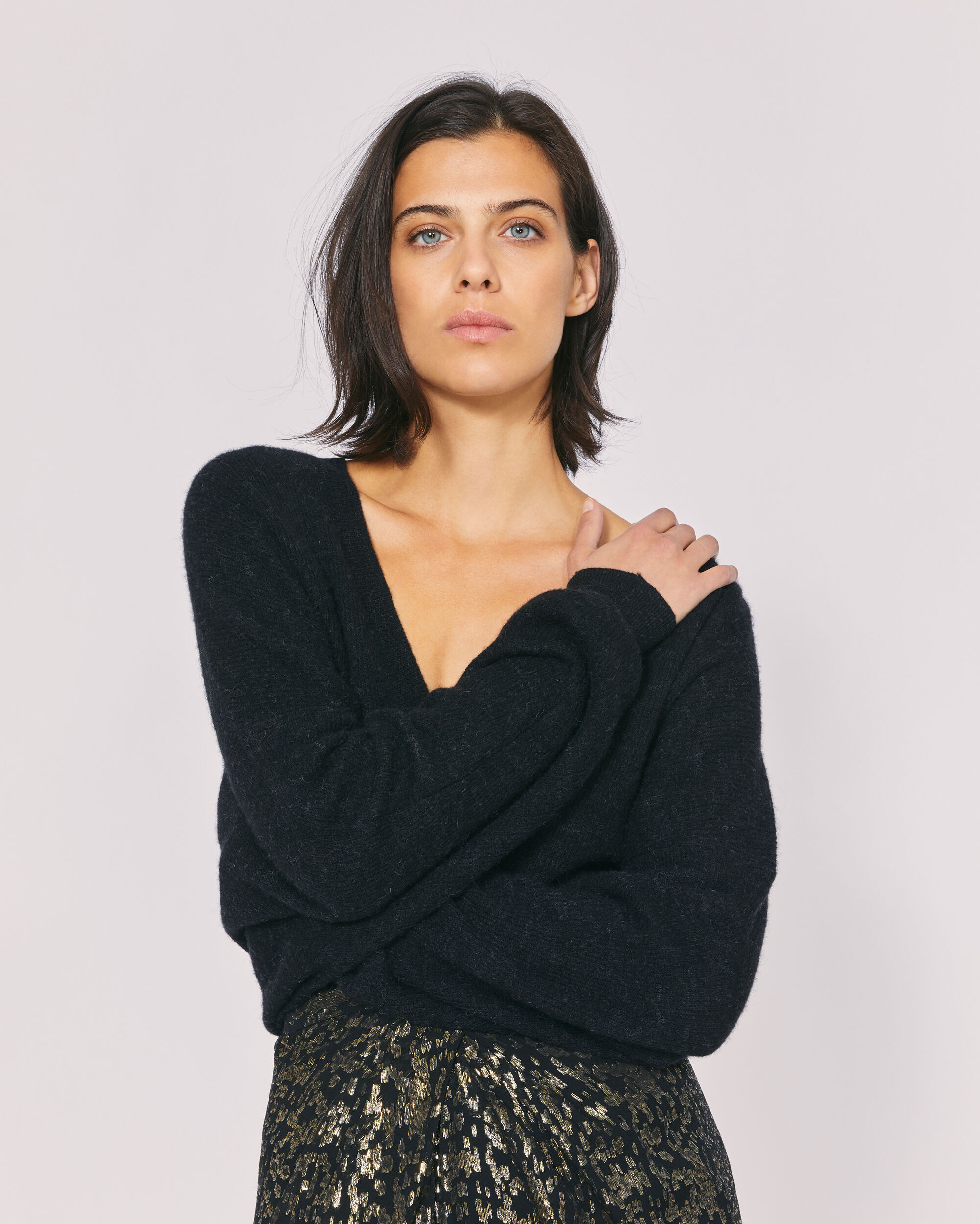 IRO ELECTRA SWEATER,BLACK