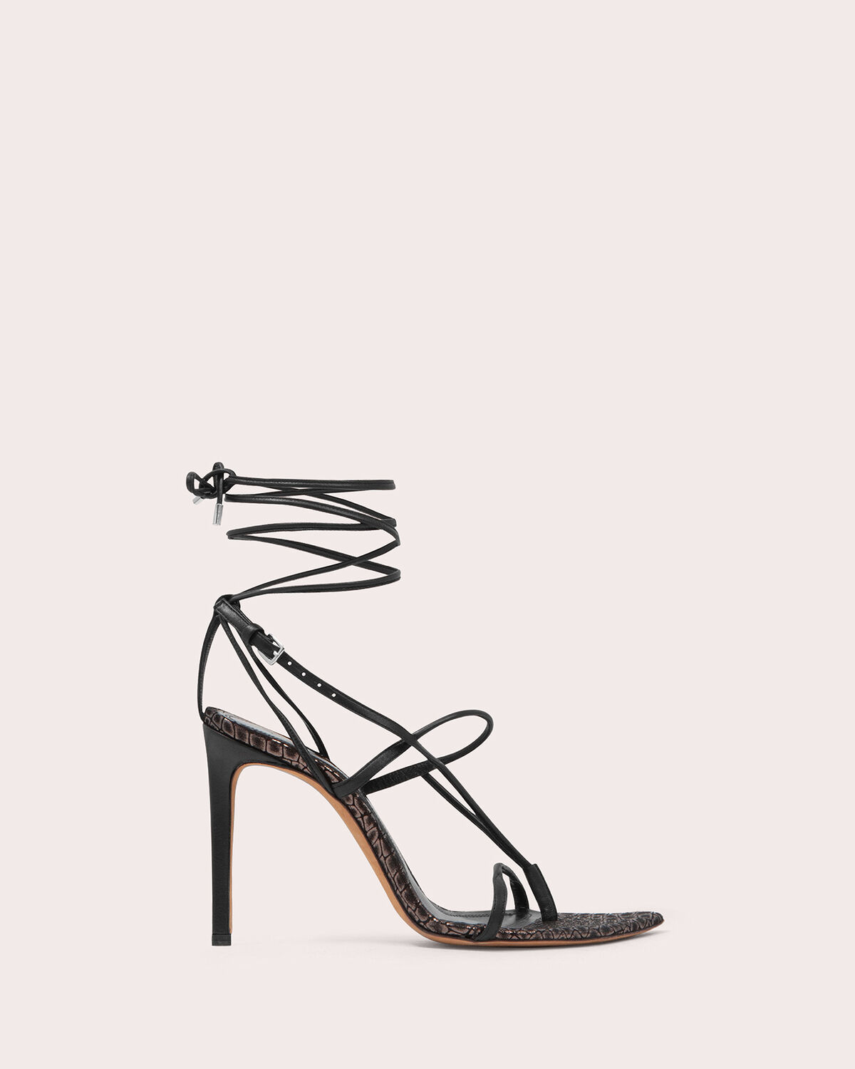 IRO - TAMBORA STRAPPY LEATHER SANDALS BLACK/DARK GREY
