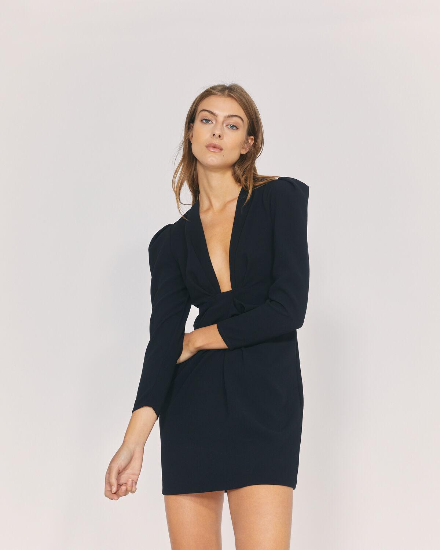 IRO - ROBIELA DEEP V NECK MINI DRESS BLACK