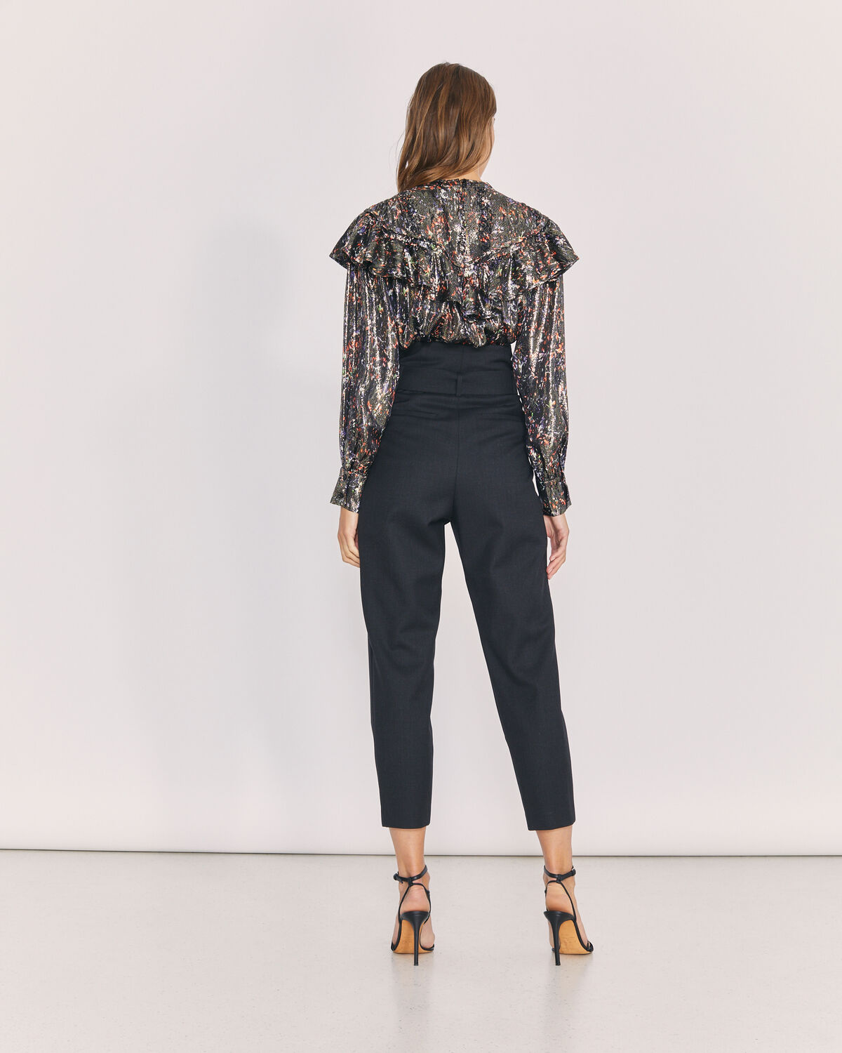 IRO - ALPER PAPERBAG CROPPED TROUSERS ANTHRACITE