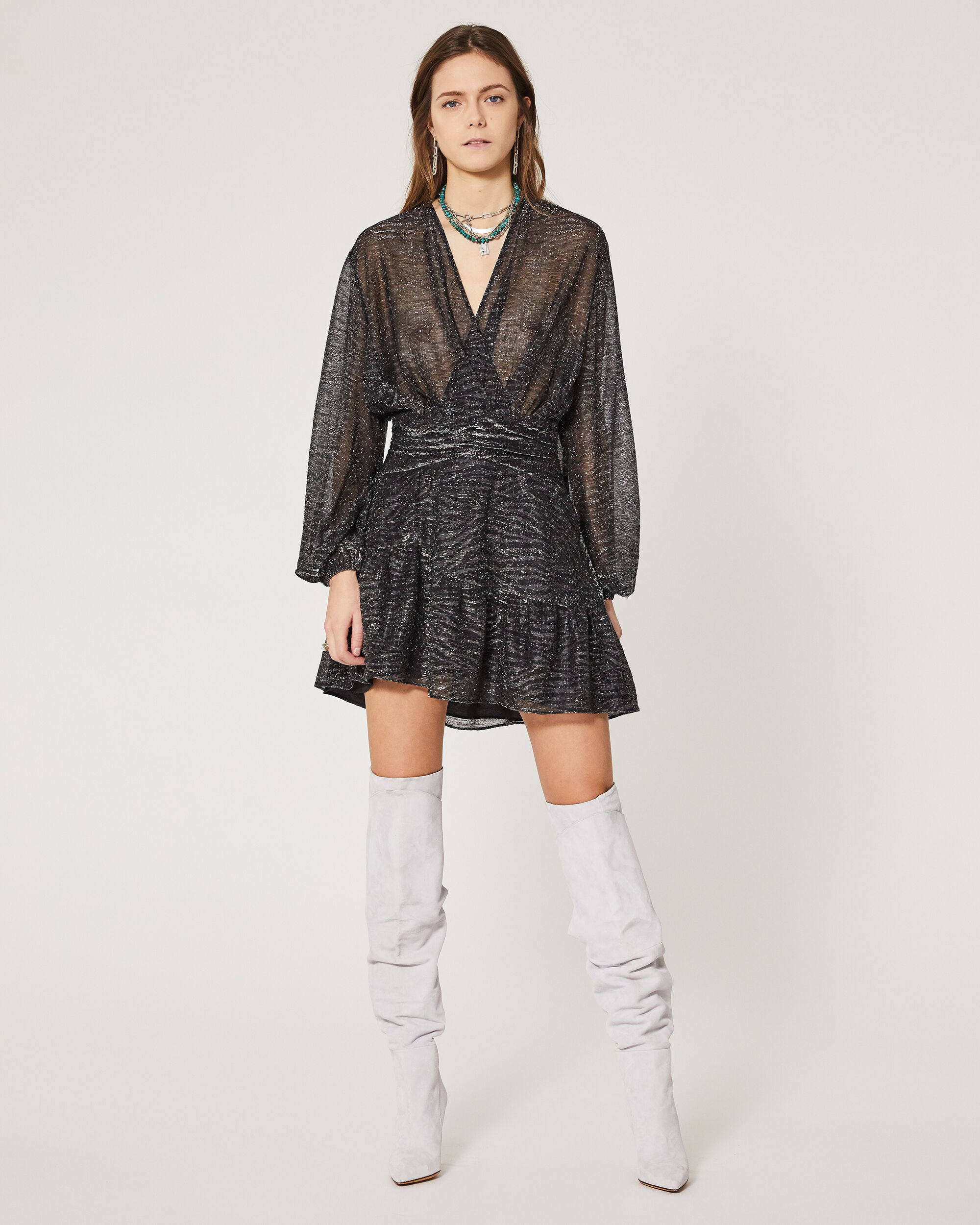 이로 원피스 IRO ROBE GESTA,BLACK LUREX