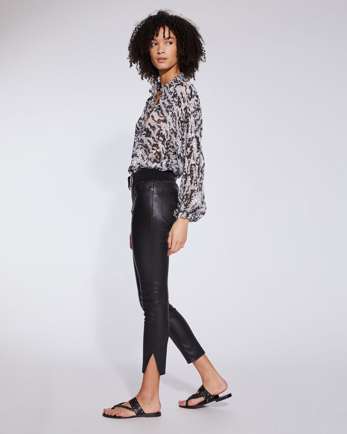 IRO - PANTALON 7/8 EN CUIR COUPE SKINNY QUARTZ BLACK