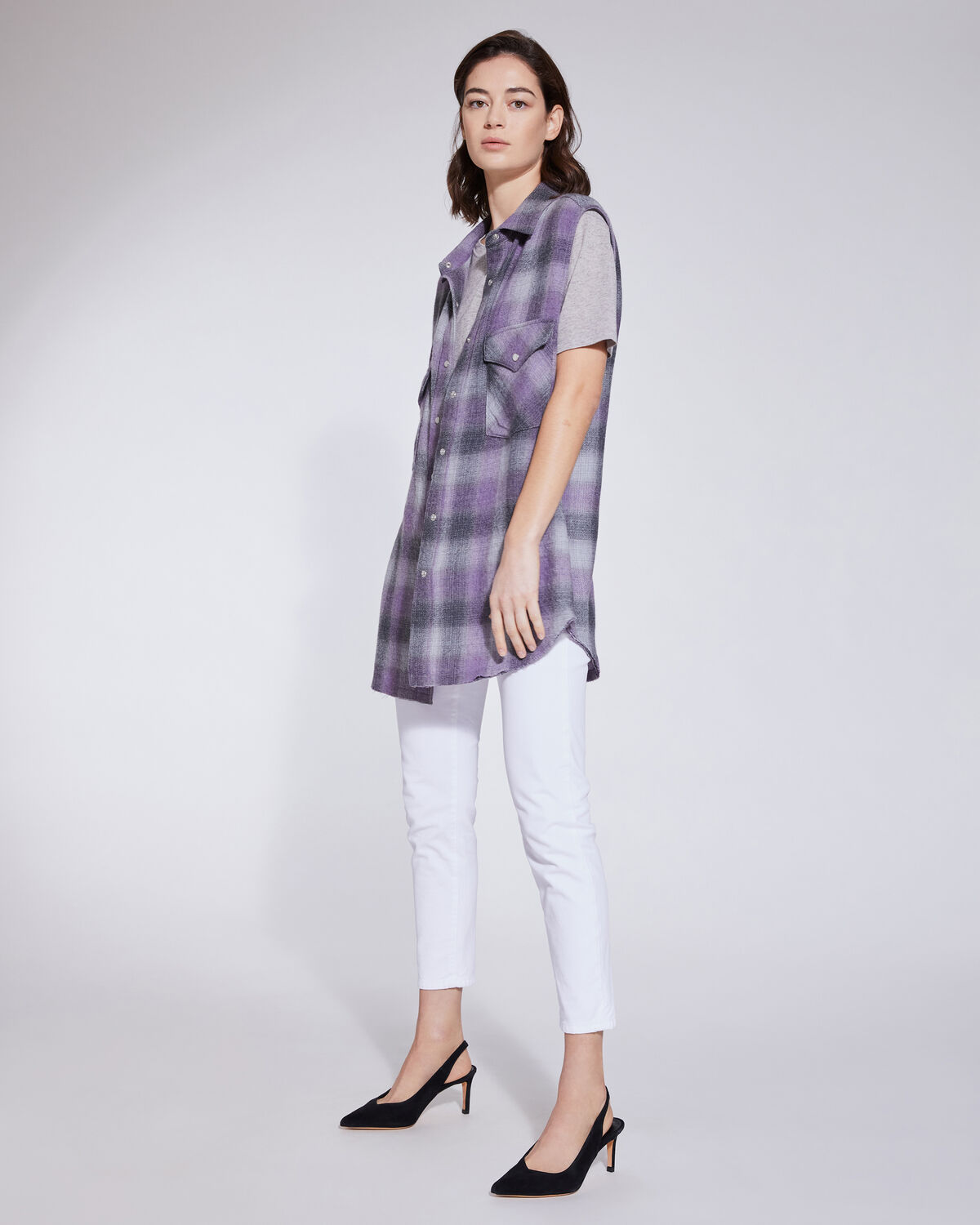 IRO - DONE RELAXED PLAID FLANNEL SLEEVELESS SHIRT PURPLE/GREY