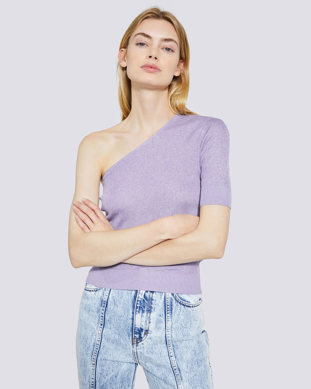 IRO - IBARRA RIBBED ONE SHOULDER SWEATER LILAS