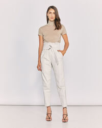 IRO - HUSVIK BELTED LEATHER TROUSERS OFF WHITE