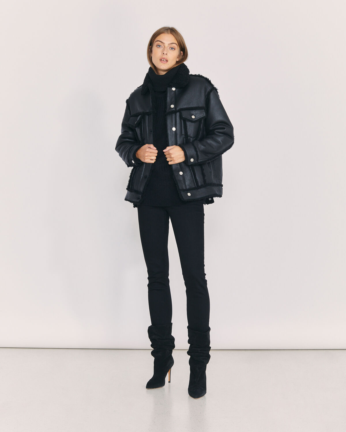 IRO - KWOOD SHEARLING TRUCKER JACKET BLACK