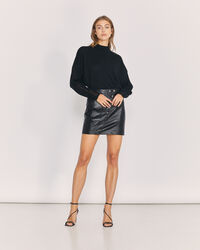 IRO - UNGA BUTTON FRONT LEATHER MINI SKIRT BLACK