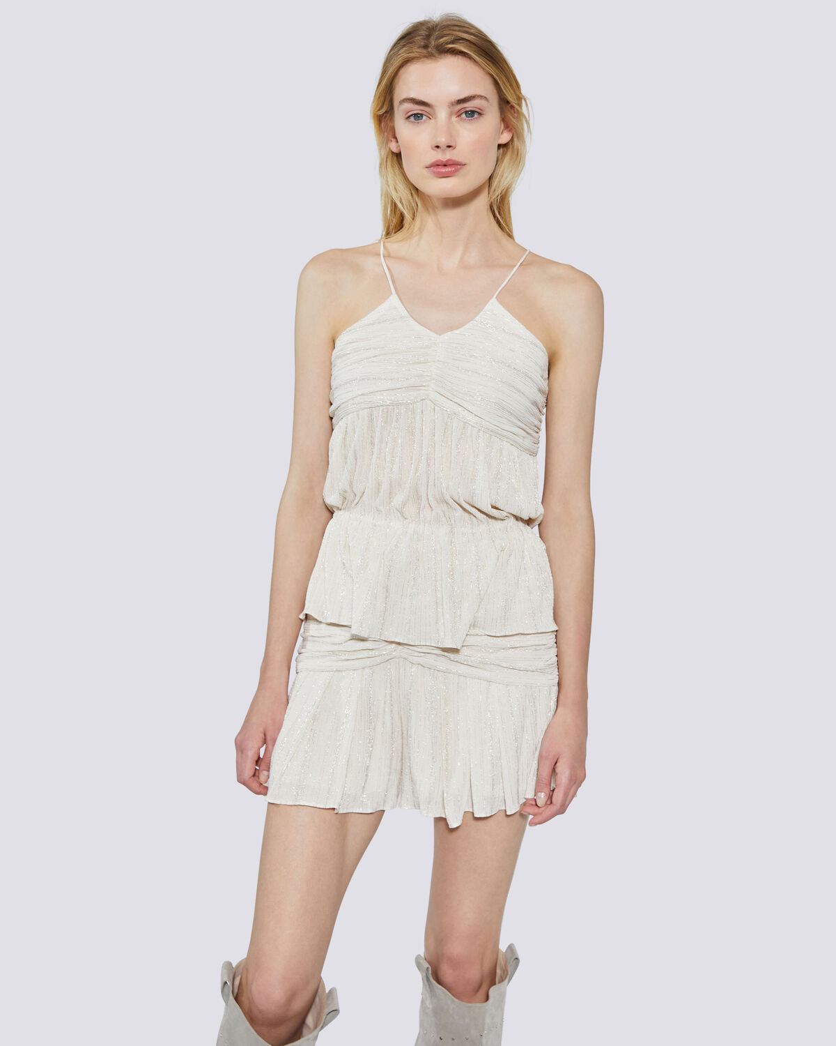 IRO - SURRY METALLIC KNIT RUCHED TANK TOP WHITE/GOLD