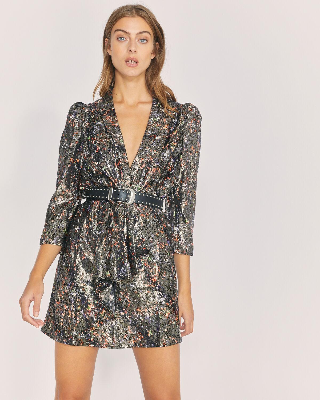IRO - MILAD METALLIC PRINTED DRESS BLACK MULTICO