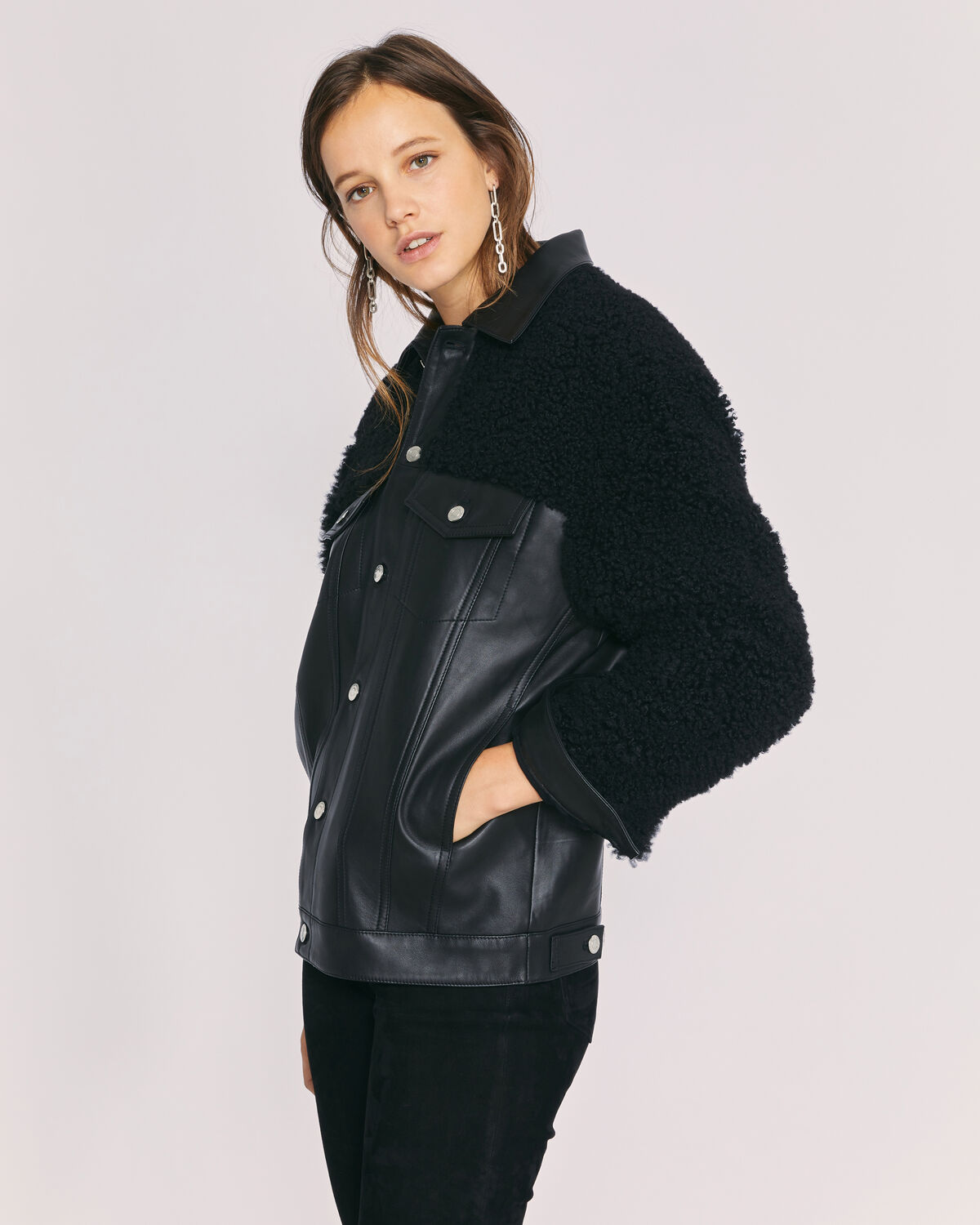 IRO - NOVUS SHERPA LEATHER JACKET BLACK
