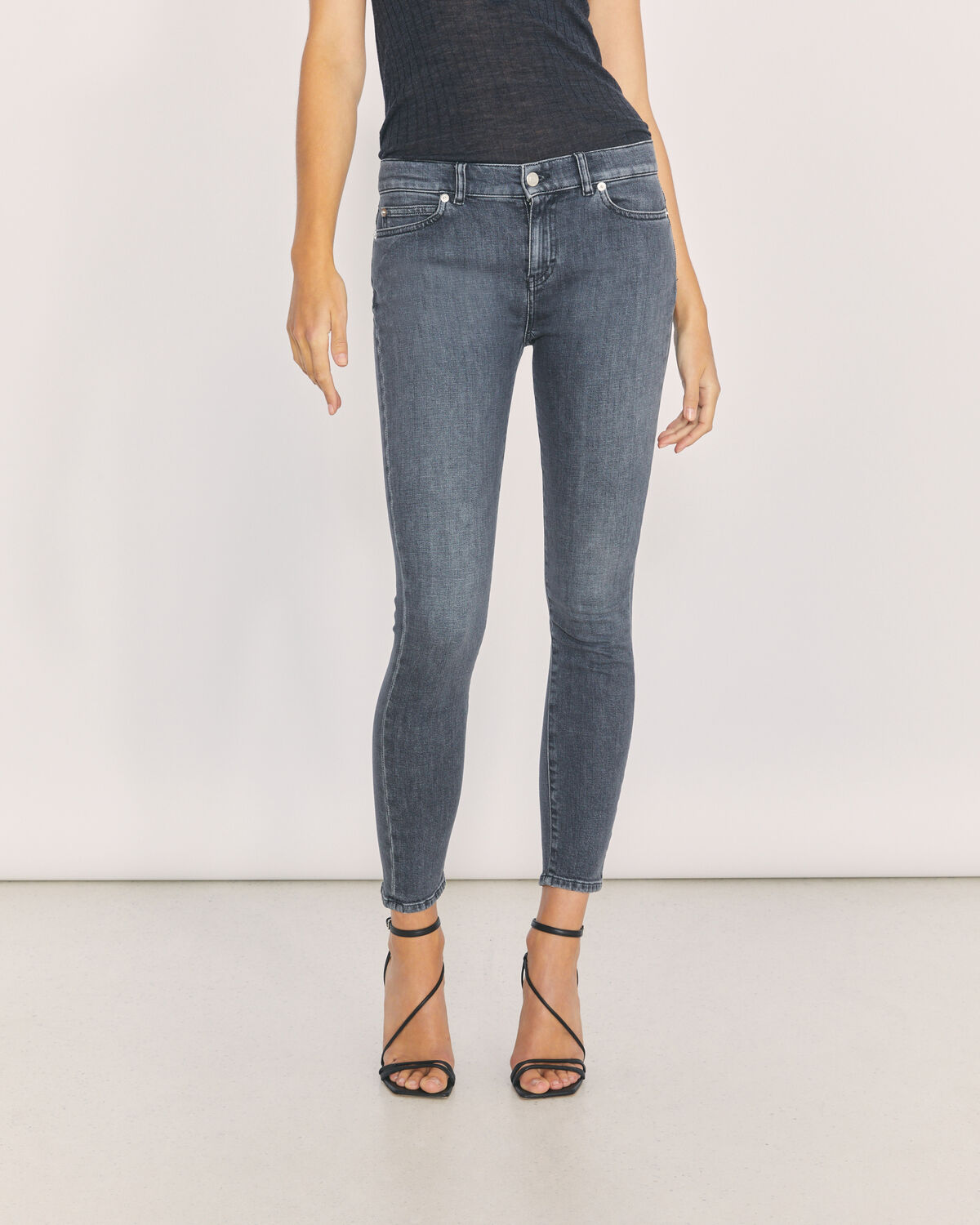 IRO - TOBER GREY MID RISE SKINNY JEANS GREY WASHED