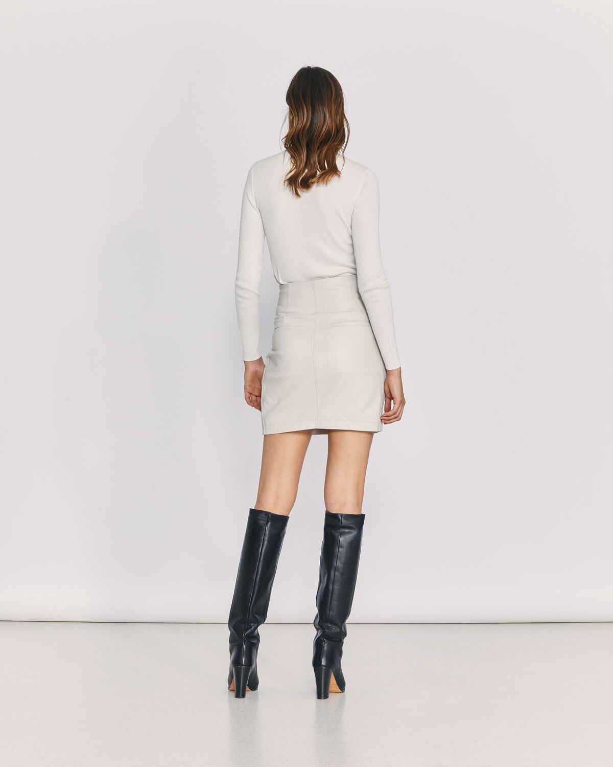 IRO - HUMAMI BELTED LEATHER SKIRT OFF WHITE
