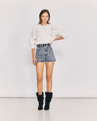 IRO - MOGA HIGH WAIST VINTAGE DENIM SHORTS SNOW BLACK