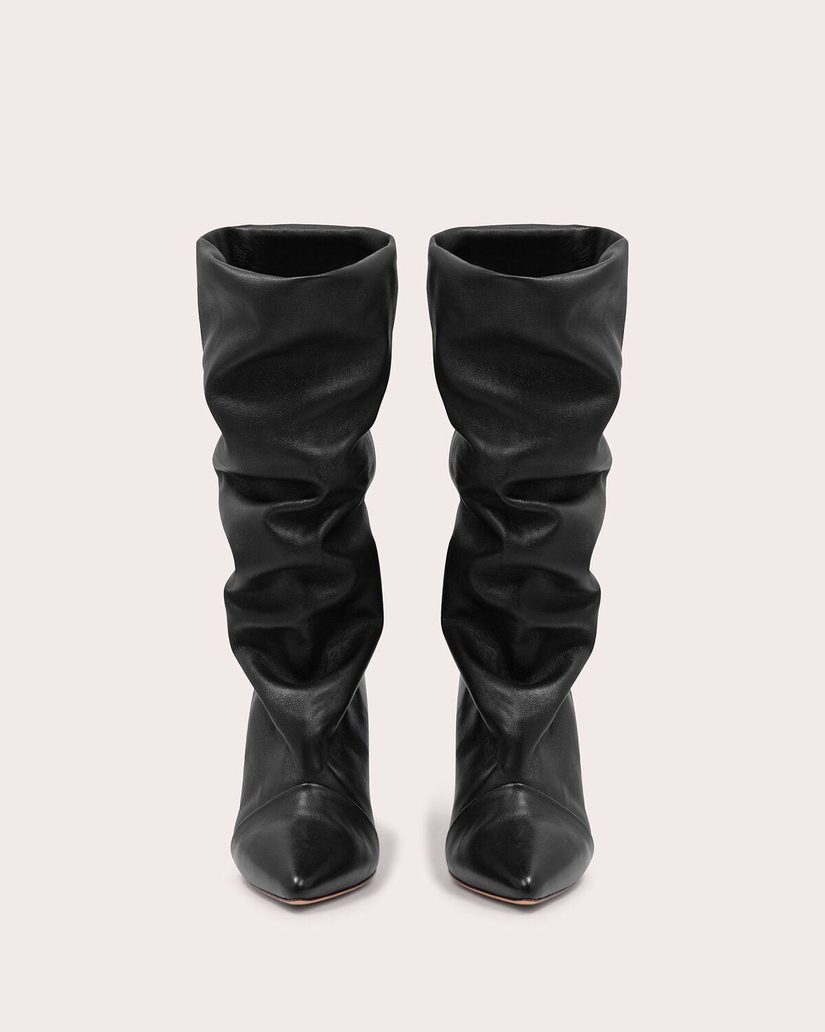 IRO - SCABBIA LEATHER SLOUCH BOOTS BLACK