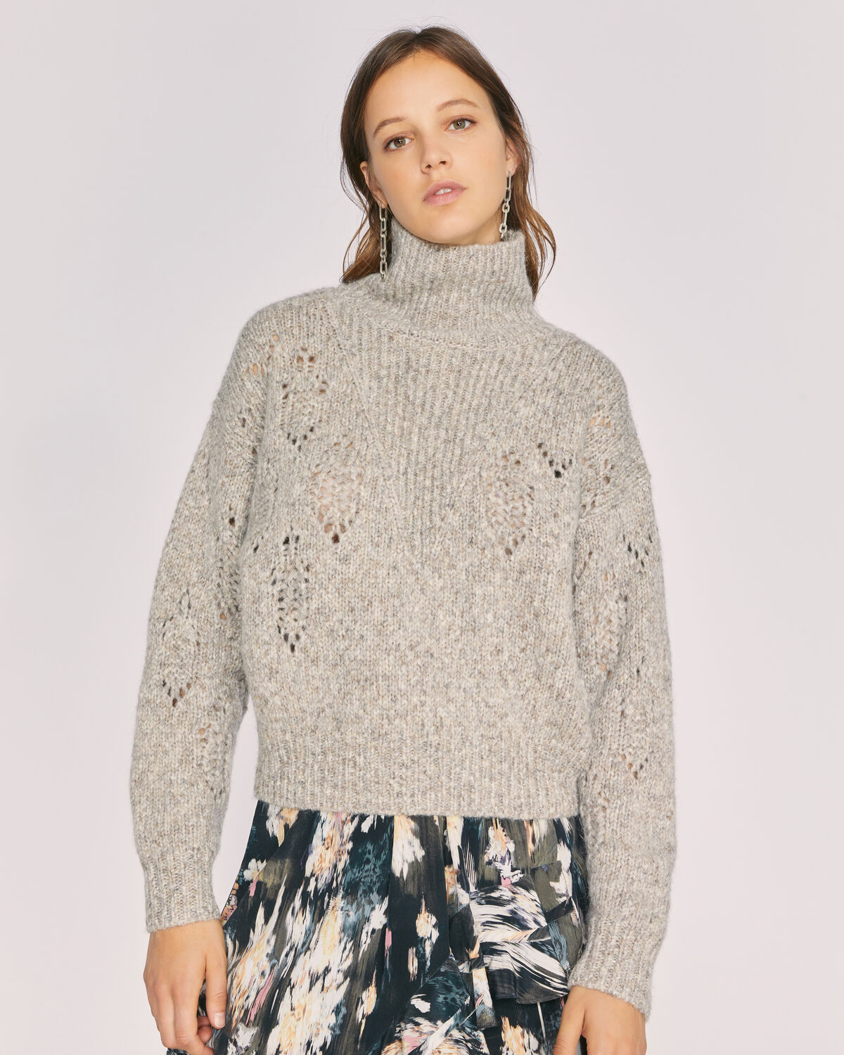 IRO - ADYNA WOOL TURTLENECK SWEATER MIXED BEIGE