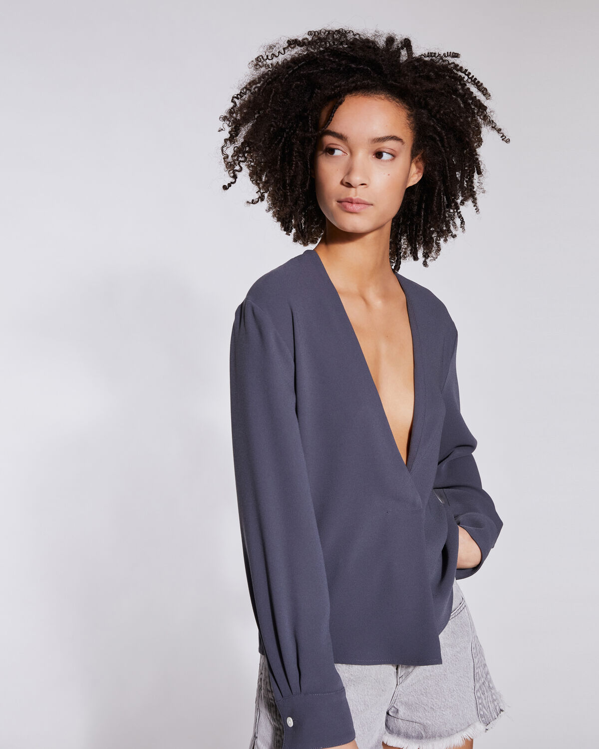 IRO - LICIOUS LONG SLEEVE V NECK TOP GREY