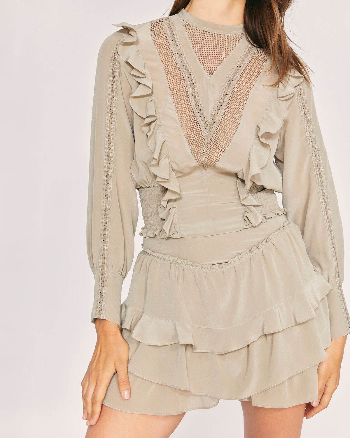 IRO - SULK HIGH WAIST RUFFLE SILK MINI SKIRT KHAKI