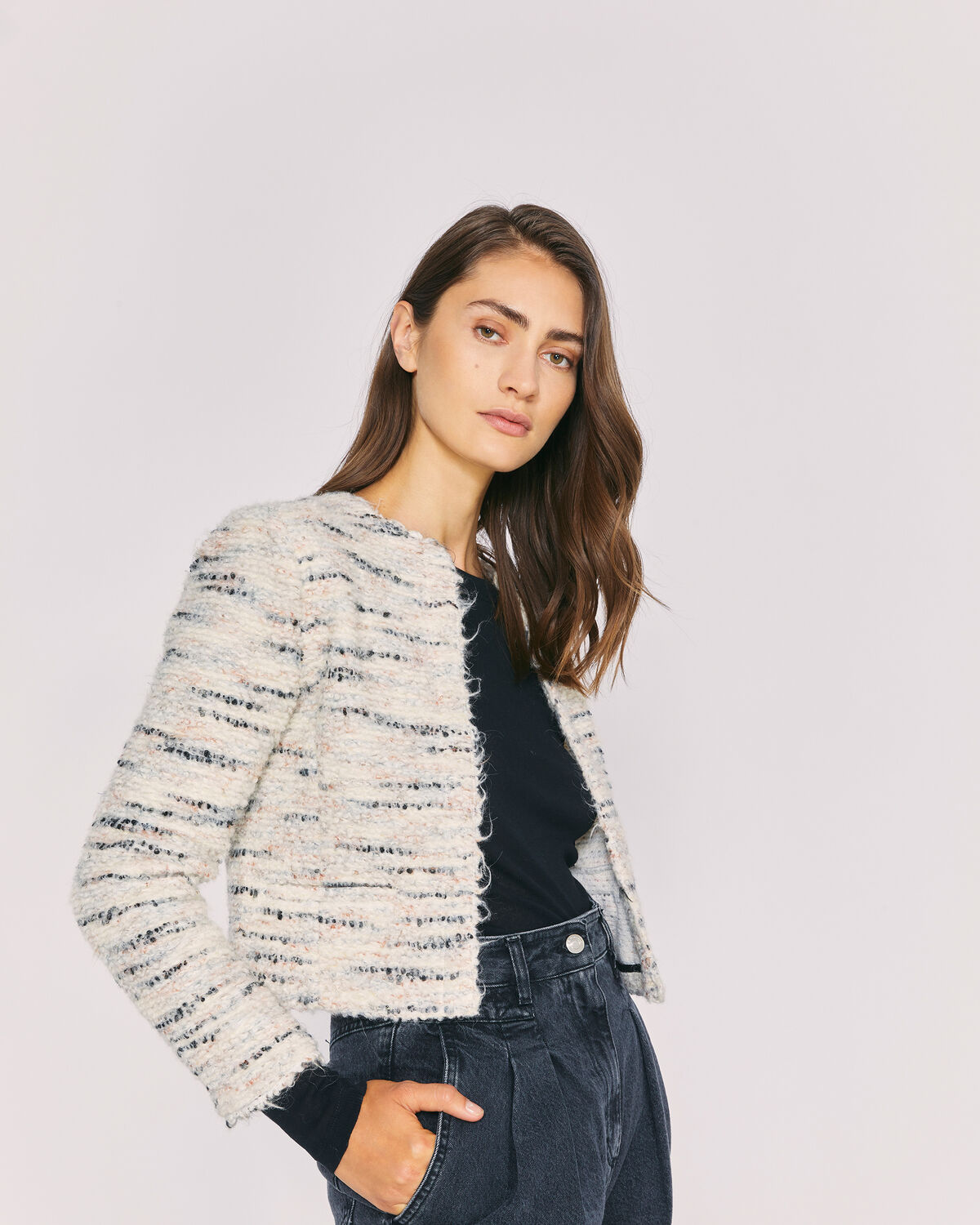 IRO - MARINO CROPPED FITTED TWEED JACKET ECRU