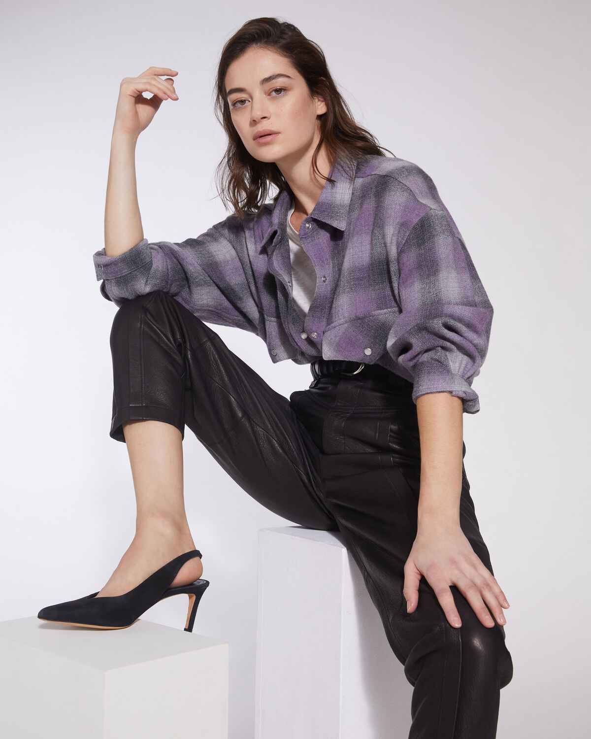 IRO - GOWEST RELAXED PLAID FLANNEL OVERSHIRT PURPLE/GREY