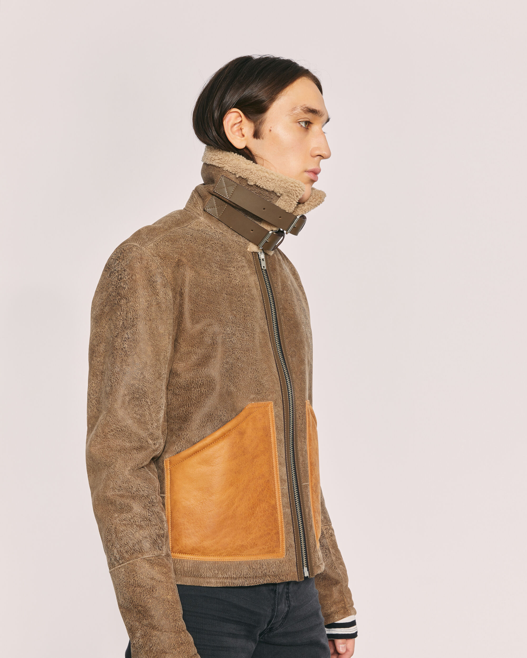 IRO RALPHY SHEARLING JACKET,BROWN CAMEL