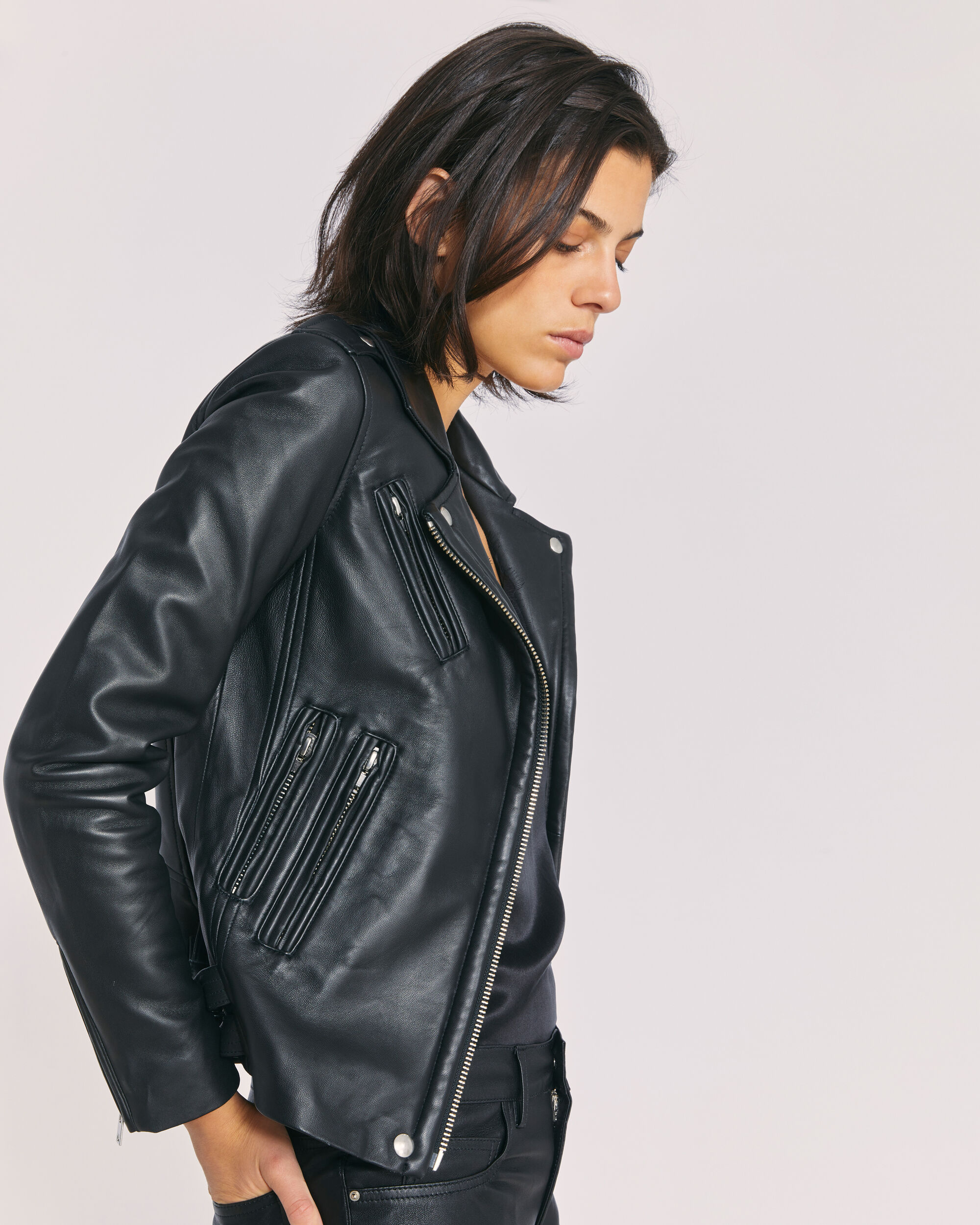 IRO HAN LEATHER JACKET,BLACK/SILVER